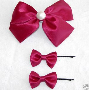 One Set of Red  Satin Ribbon Bow Hair Clip & Hair Pins Free Shipping
