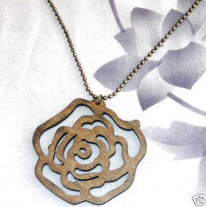 Large Wood Brown Rose Pendant  Bronze Ball Chain Free Shipping