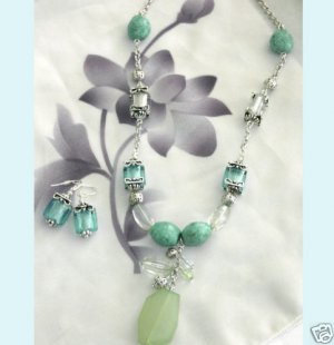 Spring Mix Blue and Turqueoise Necklace And Earring free Shipping