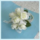 Off White Roses Corsage Rhinestones Bracelet Wristlet Free Shipping