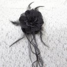 Black Flower Hair Clip /Brooch With Feathers and Ribbon Free Shipping