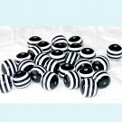 20 Pieces of 10mm Black and White Striped Acrylic Beads Free Shipping
