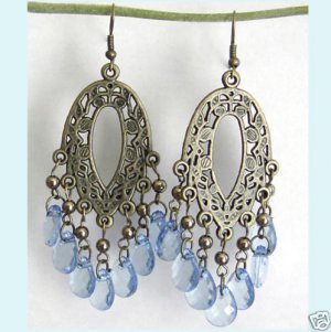 Dangling Antiqued Bronze Oval Floral Chandelier Blue Earing Free Shipping