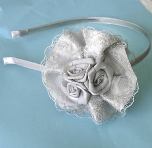 Gray Lace Ribbon Roses Headband - Wedding Bridal  Free Shipping
