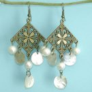 Danging Antiqued Bronze Square Chandelier Sea Shell Earring Free Shipping