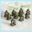 10 Pieces of Antiqued Brass Bird Cage Pendant Charms Free Shipping