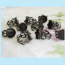 10  Adjustable Antiqued Bronze Filigree Rings With Tray free Shipping
