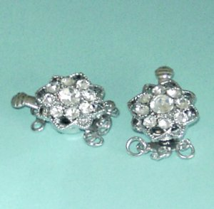 4 Pieces of Clear Rinestone Flower Box Clasp 3 Strands Free Shipping