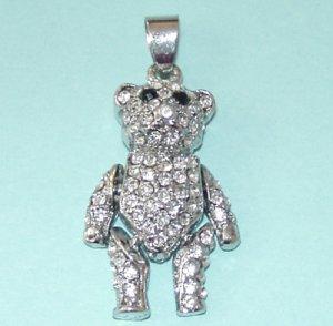 2 Pieces of Rhinestones Teddy Bear Pendants Free Shipping