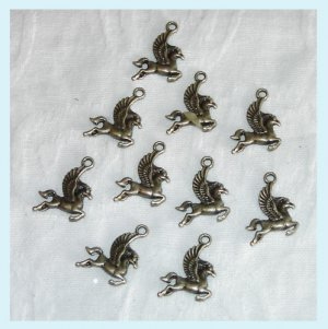 12 Pieces of Antiqued Bronze Unicorn Horse Charms Free Shipping
