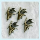 4 Pieces of Antiqued Brass Fairy Charms Free Shipping