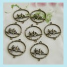 8 Pieces of Antiqued Bronze 2 Birds Earring / Charms Free Shipping