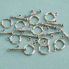 10 Set of Antique Silver Finish  Ring Toggle Clasps Free Shipping