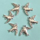 6 Pieces of Two Side Bird Charms Free Shipping