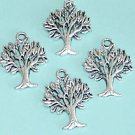 4 Pieces of Antiqued Silve Finish  Peace Tree Charms Free Shipping