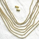10 ft of Gold Tone Ball Chain with  Connector Clasps Free Shipping