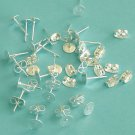 20 Pair of Silver Plated 4mm Flat Pad Posts Earrings