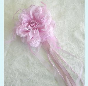 Pink Flower Hair Clip / Brooch With Feathers and Ribbon Free Shipping
