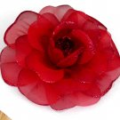 Red Rose Silk Flower Hair Clip / Brooch Combination Free Shipping