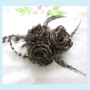 Leopard Roses Hair Clip/ Brooch With Bird Feathers