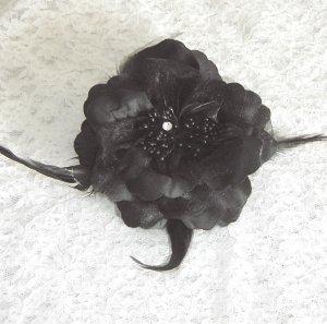 Black Flower Hair Clip / Brooch Combination