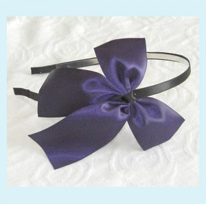 Purple Satin Bow Headband - Wedding Bridal