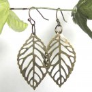 Stamping Brass Leaf Earrings Free Shipping