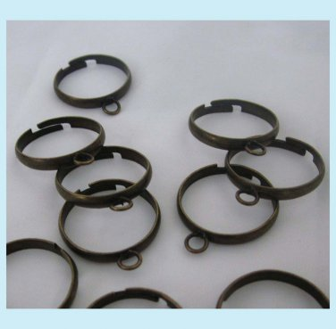 10 Pcs Antiqued Brass Adjustable Blank Rings With Loop Free Shipping