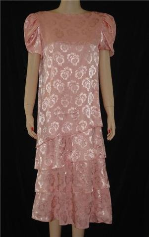 Lizzy & Johnny Peach Floral Tiered Church Dress sz 12 Large
