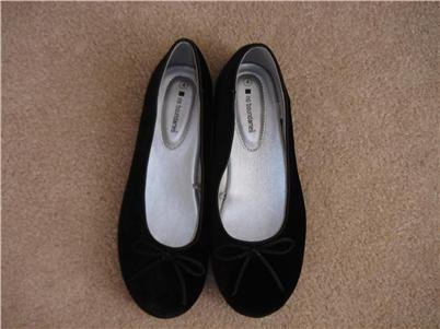 New Black Velour Ballet Flats Girls Sz 4