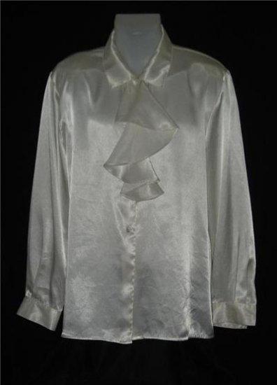 Leslie Fay Off White Ruffle Dress Shirt LS Sz 18