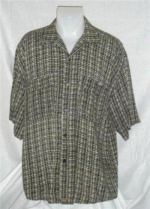 Mens Buno Italian Shirt Large Funky Pattern Black & Tan