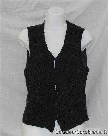 Womens Black Black Beaded Vest Sz Medium 8 10