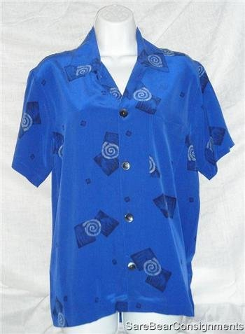 Funky Blue Wht Black Silk Chicos Design Silk Shirt Sz 0