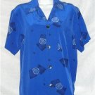 Funky Blue Wht Black Silk Chicos Design Silk Shirt Sz 0
