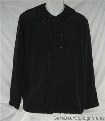Beaded Sequined Black Dress Shirt Sz 14 L Tuxedo Style