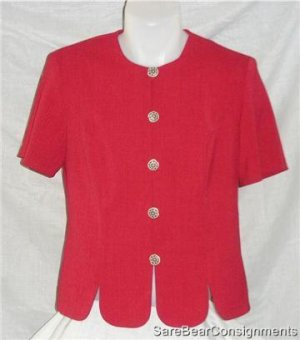 Leslie Fay Red Career Top Floral Buttons sz 10 like  new