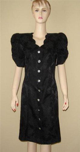 Vintage 80s Black Prom Party Rhinestone Dress 9 / 10 M