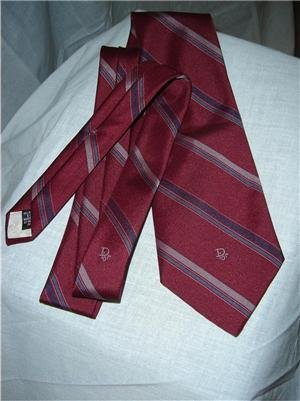 Vintage Dior Logo Tie Maroon Stripes