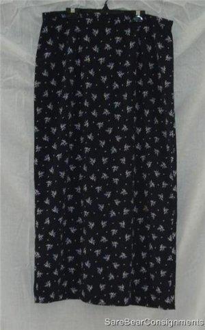 Gap Long Navy Floral Skirt Lined Long Slit Sz 14