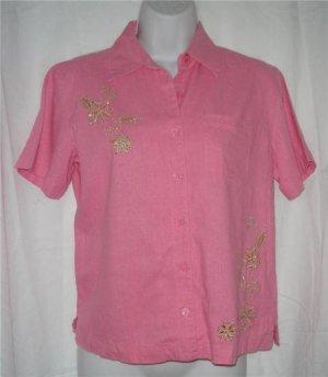 Pink Linen Blend Gold Embroidered Flower Shirt PS Small