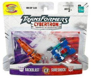 transformers cybertron minicon Backblast vs. Sureshock moac