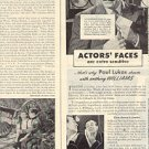 1944 WILLIAMS LUXURY SHAVE CREAM - PAUL LUKAS & RAYMOND MASSEY MAGAZINE AD (100)