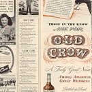 1944 OLD CROW BOURBON WHISKEY MAGAZINE AD (107)