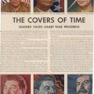 1944 THE COVERS OF TIME - LEADERs FACES CHART WAR PROGRESS MAGAZINE AD  (90)
