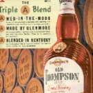 1952 GLENMOREs OLD THOMPSON BRAND BLENDED WHISKEY  MAGAZINE AD  (136)