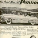 1952 NEW '52 PONTIAC GENERAL MOTORS CORPORATION MAGAZINE AD  (142)