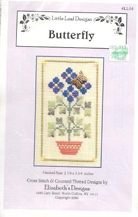 BUTTERFLY CROSS STITCH  with BUTTERFLY CHARM BY ELIZABETHs DESIGNS LITTLE LEAF DESIGNS CRAFT KIT NEW