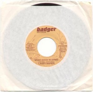 WHAT GOOD IS DYING by LARRY NAPIER - BADGER RECORDS 45 RPM RECORD # 119 MINT