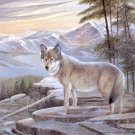 2001 PRINT #35: LONE WOLF ON A ROCK SIGNED RUANE MANNING  MINT